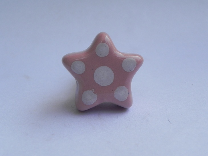 Pink Dotted Star Ceramic Knob