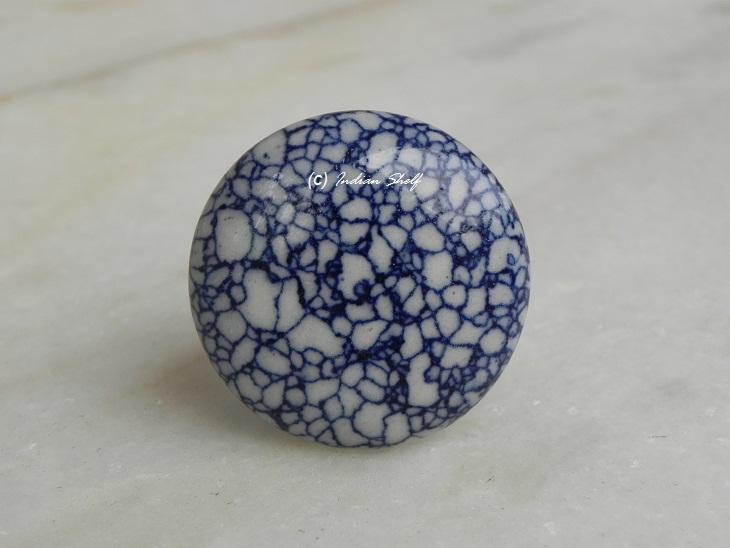 Navy Blue Marble Flat Knob