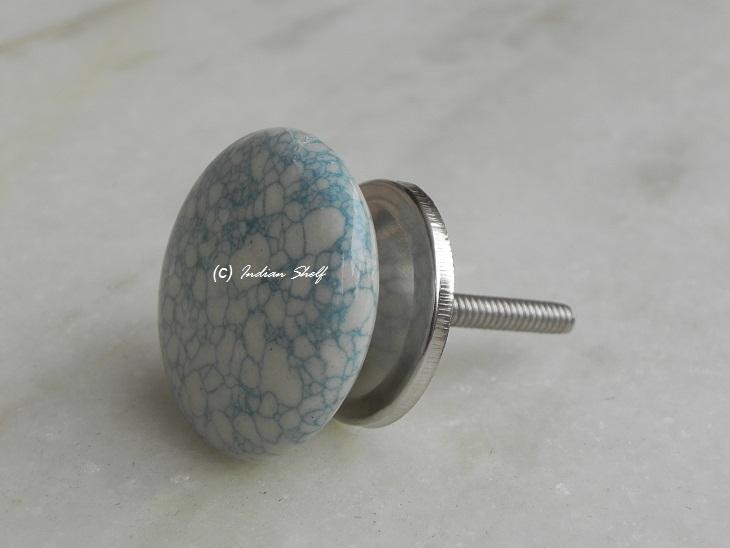 Sky Blue Marble Flat Furniture Knob