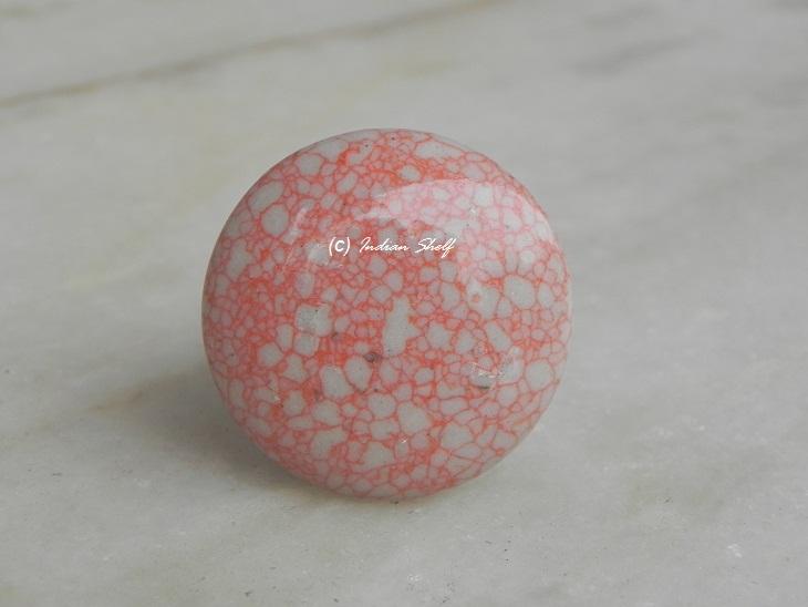 Pink Flat Crackle Ceramic Knob