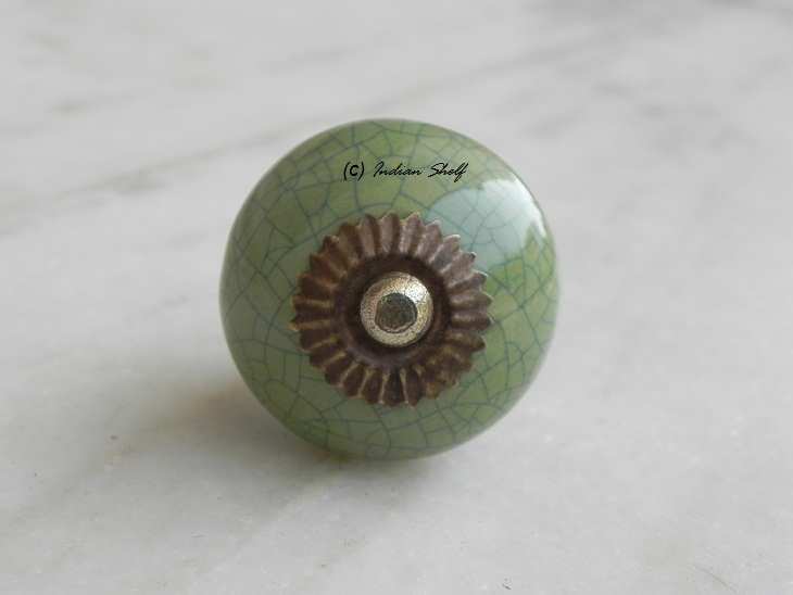 Green Blue Crackle Ceramic Drawer Knob