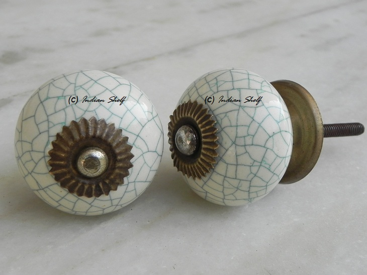 Cream Green Crackle Handmade Knob