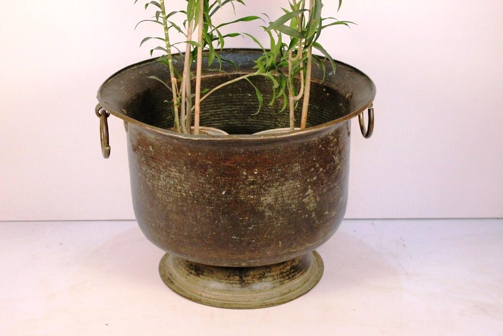 Handmade Bronze Urn Planter With Ring Handles