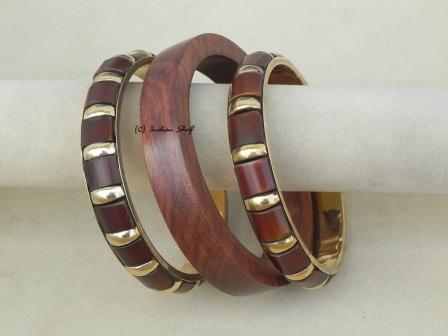 Wooden Brass Bangle-77