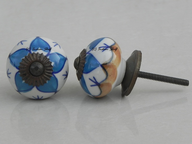 Turquoise Flower Knob