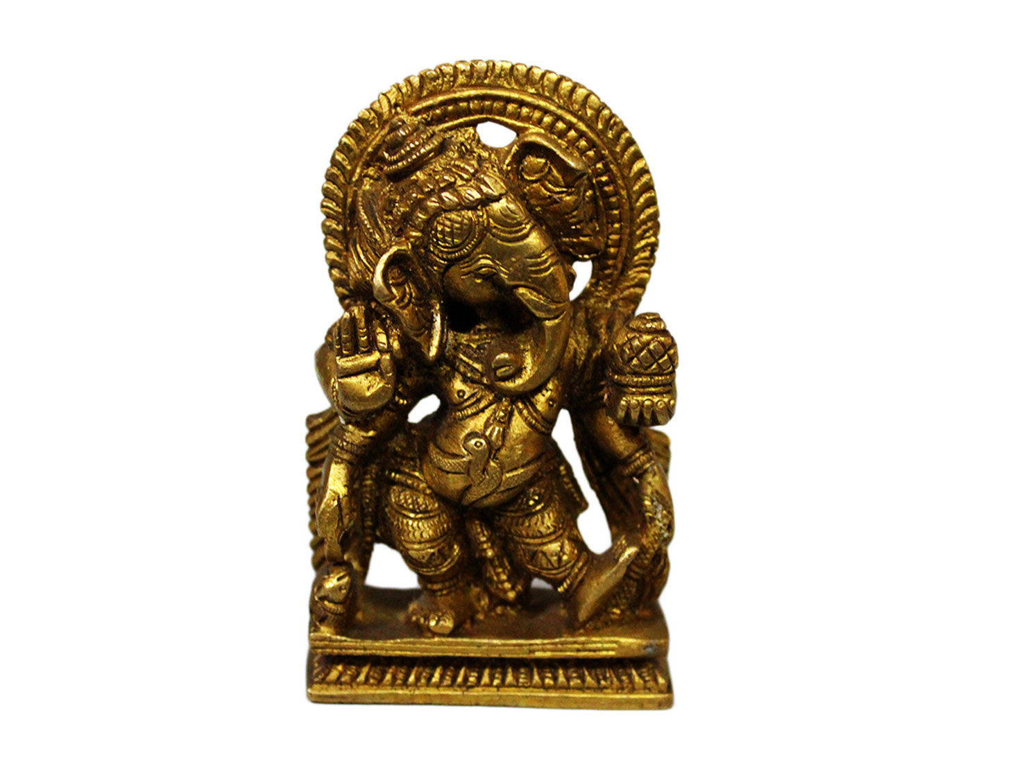 Brass Ganesha (Ht-4.1 Inches)