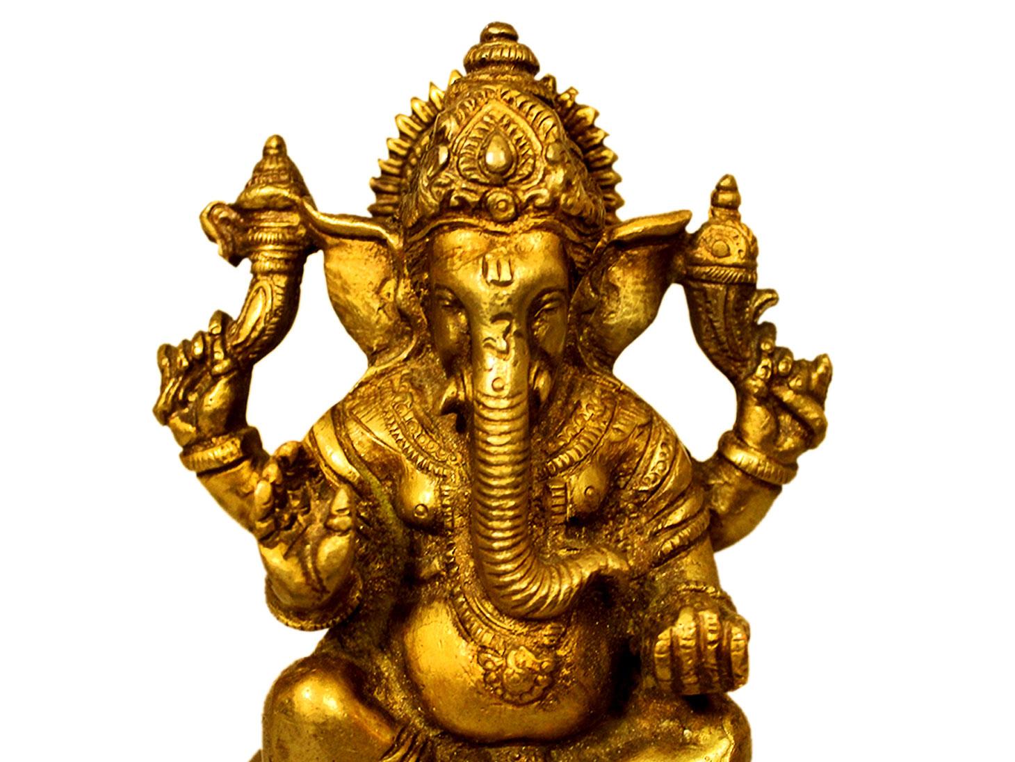 Brass Ganesha (Ht-4.75 Inches)