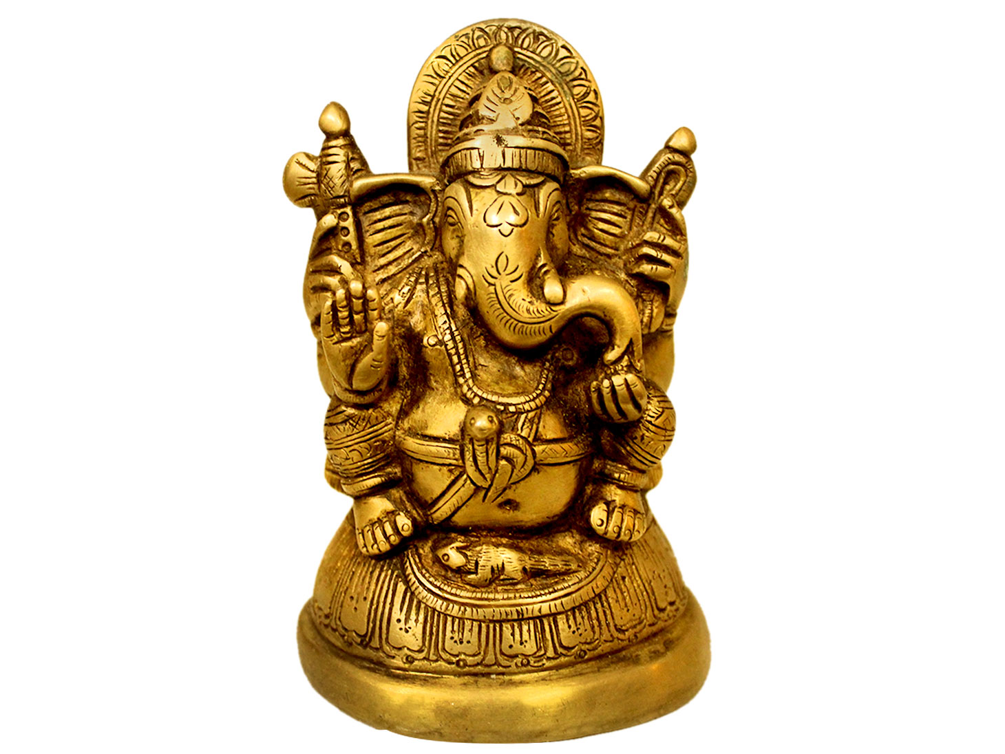 Brass Ganesha (Ht-5.2 Inches)