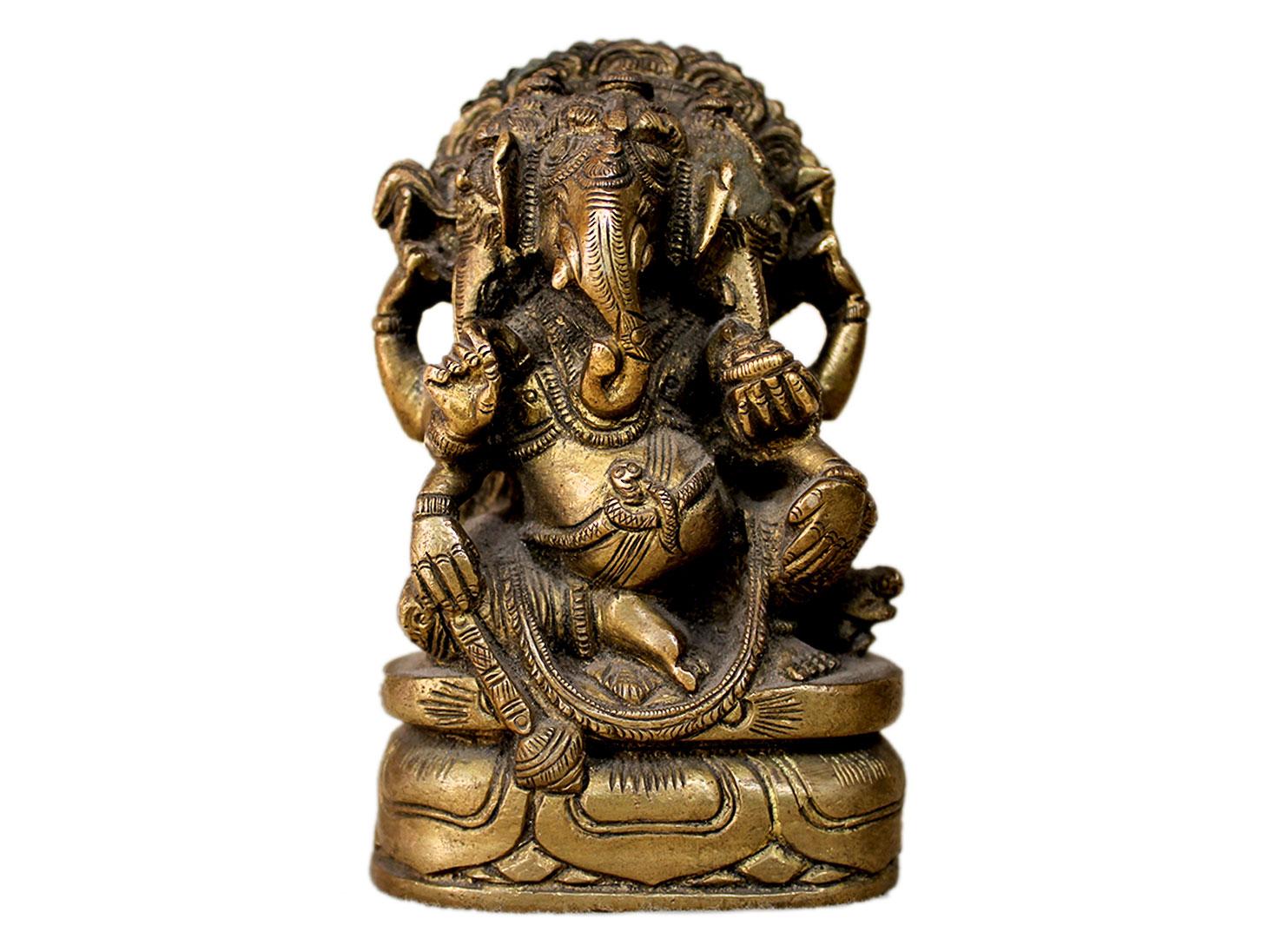 Brass Ganesha (Ht-4.3 Inches)