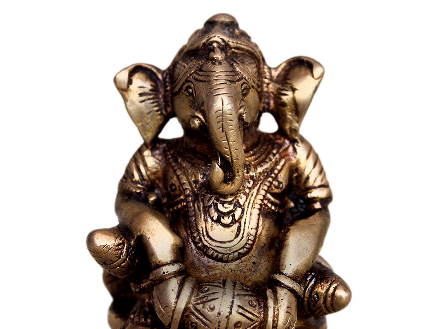 Brass Ganesha (Ht-3.5 Inches)