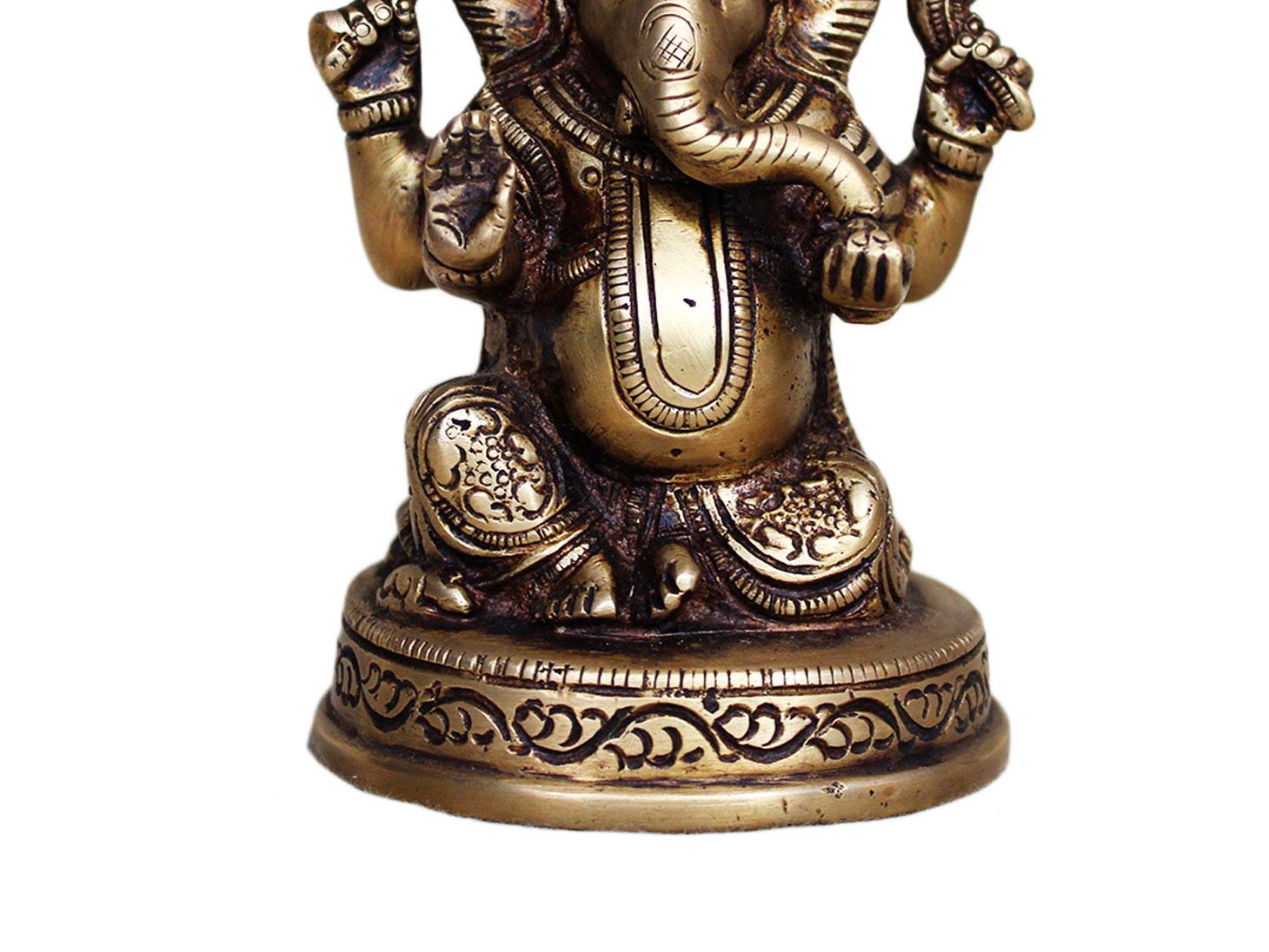 Brass Ganesha (Ht-4.7 Inches)