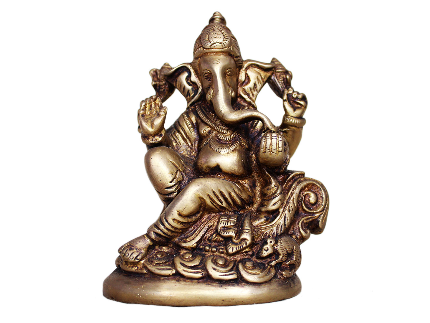 Brass Ganesha (Ht-5.7 Inches)