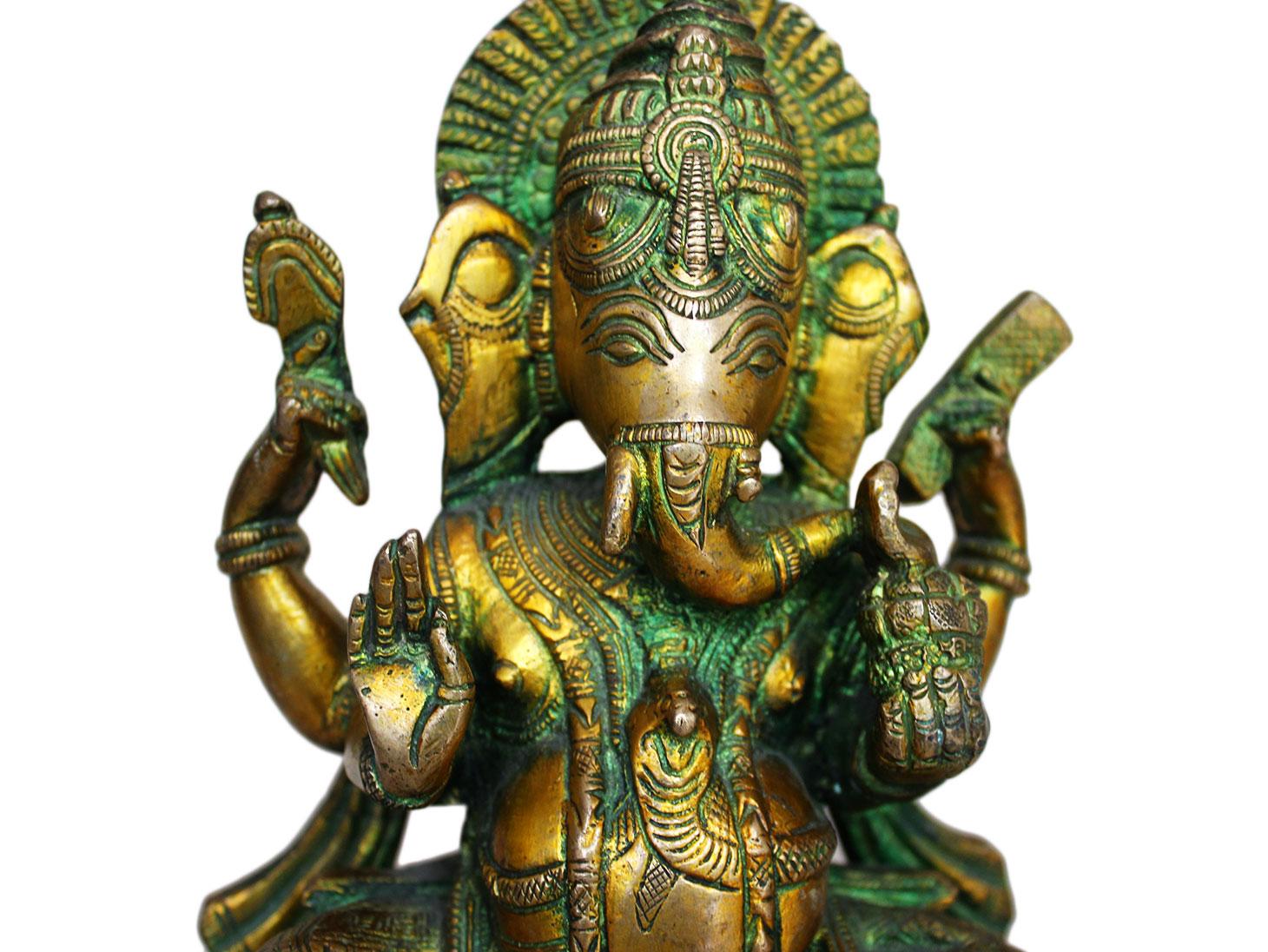 Brass Ganesha (Ht-7.9 Inches)