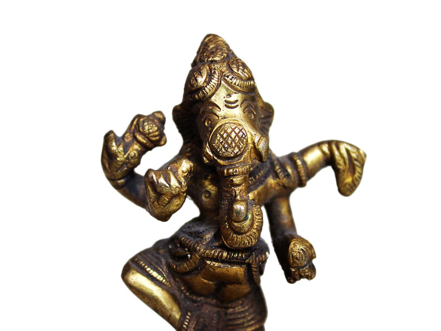 Brass Ganesha (Ht-3.9 Inches)