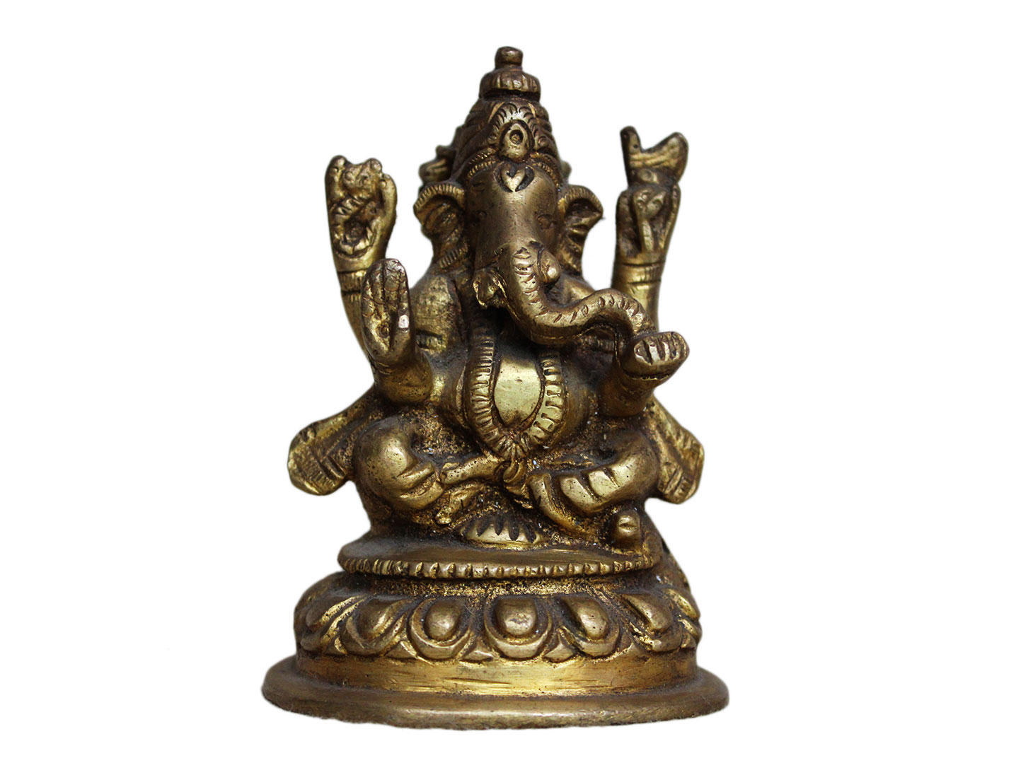 Brass Ganesha (Ht-3.5 Inches)