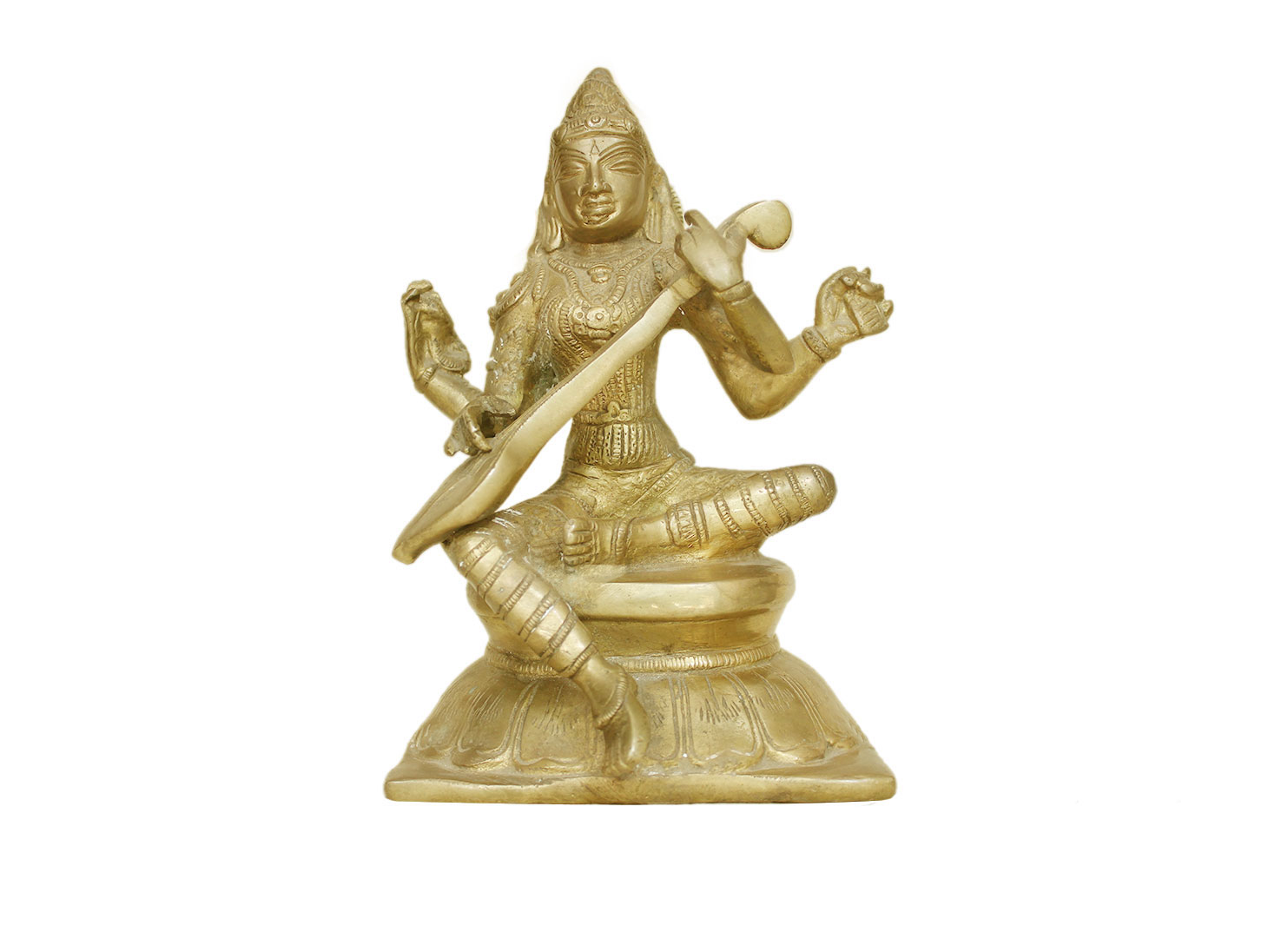 Brass Saraswati (Ht-7.9 Inches)