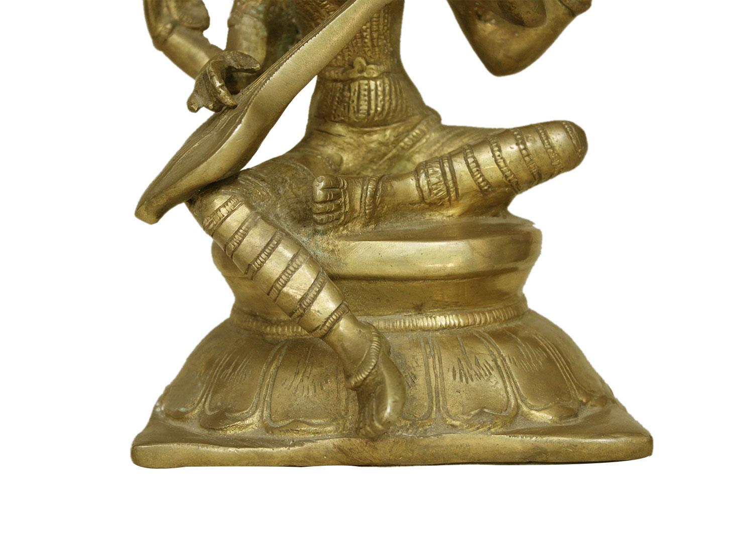Brass Saraswati (Ht-7.9 Inches)
