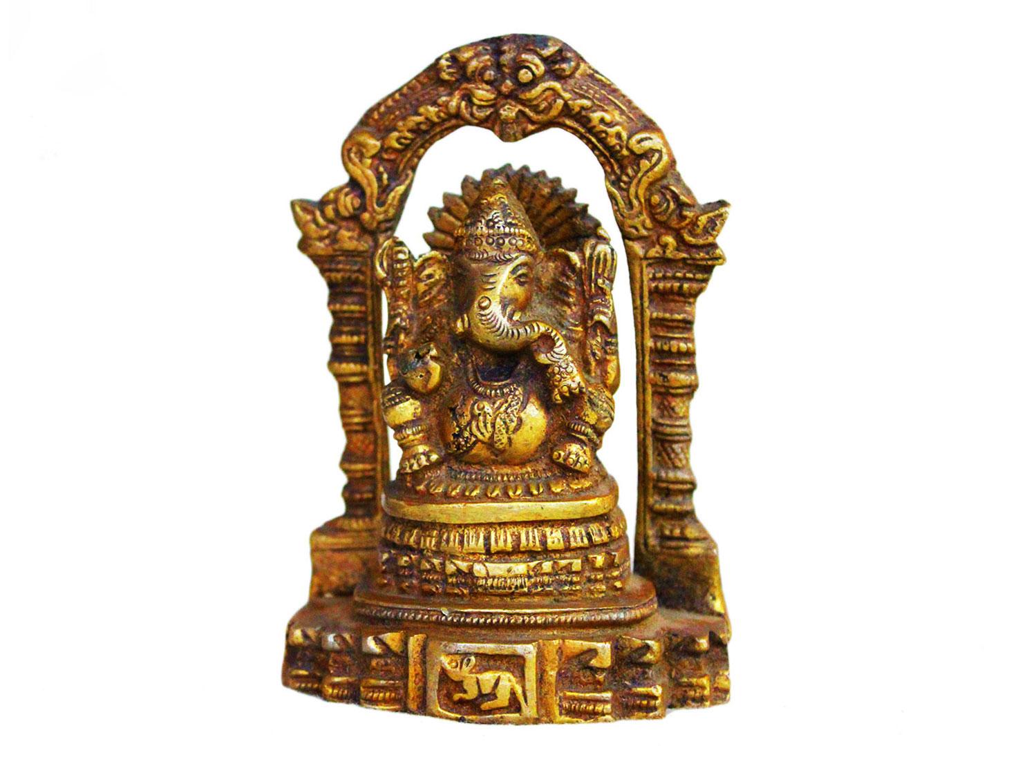 Brass Ganesha (Ht- 4.3 Inches)