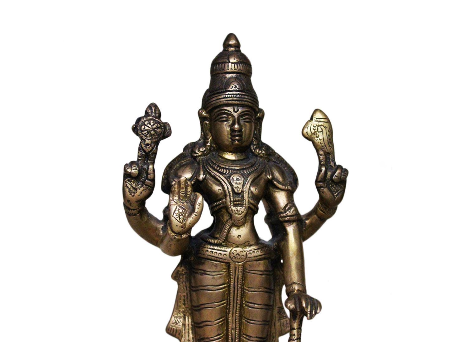 Brass Vishnu (Ht-9.25 Inches)