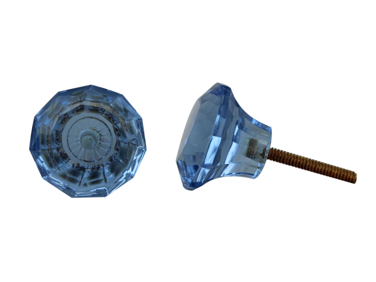 Slate Blue Diamond Glass Drawer Knobs Online
