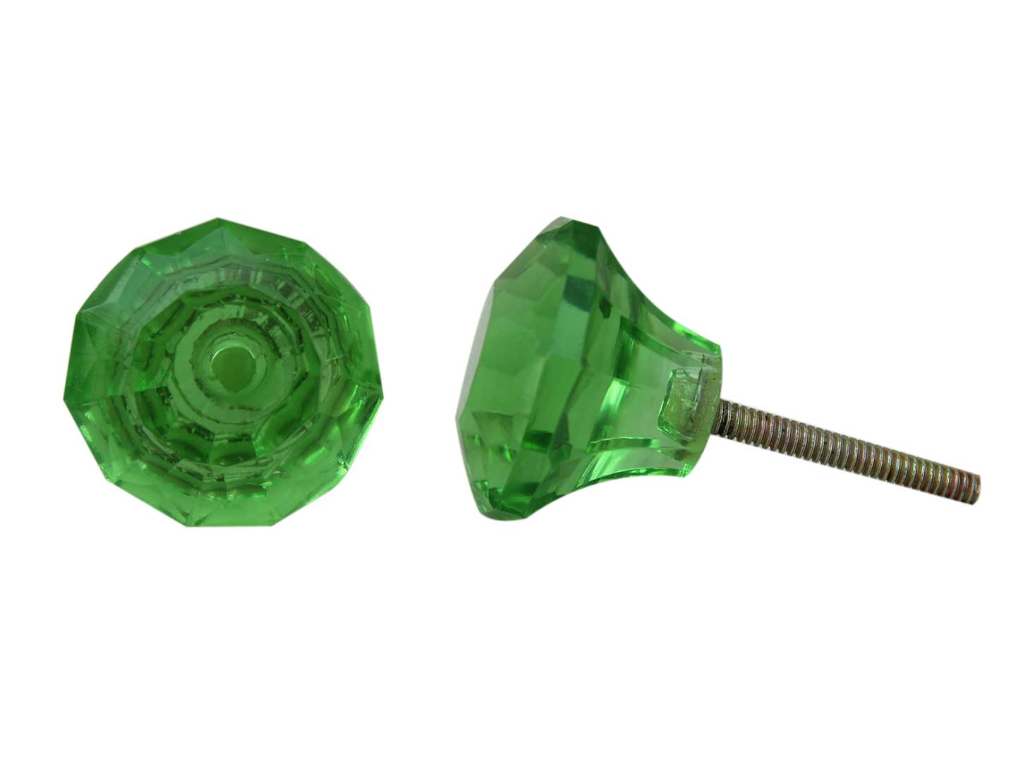 Green Diamond Glass Cabinet Knobs