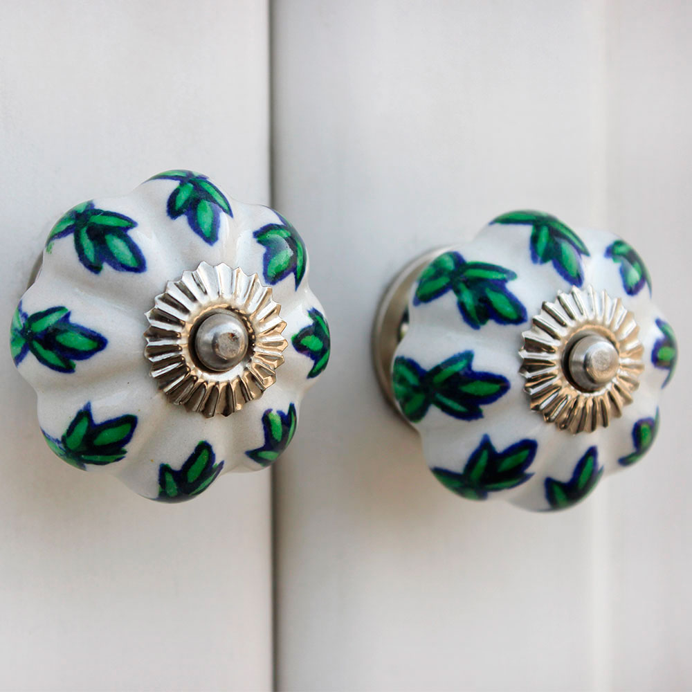 White Green Leaf Melon Drawer Knob
