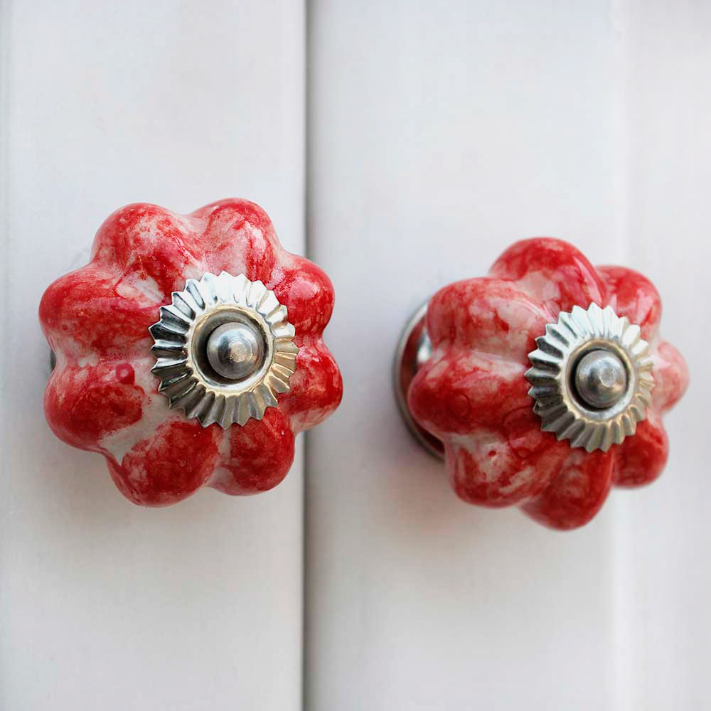 Red Marble Melon Drawer Knob