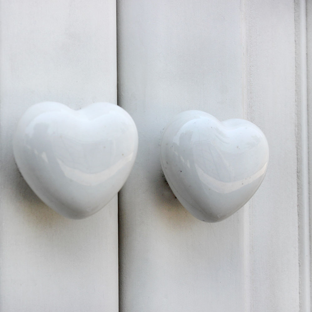 White Heart Ceramic Knob