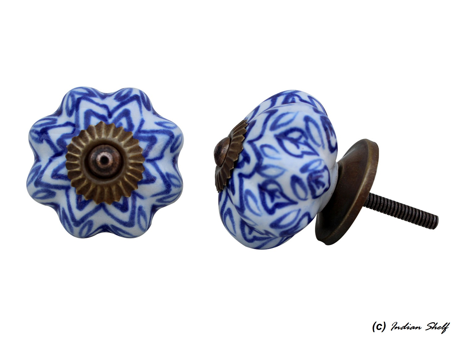 Blue Floral Melon Ceramic Knob