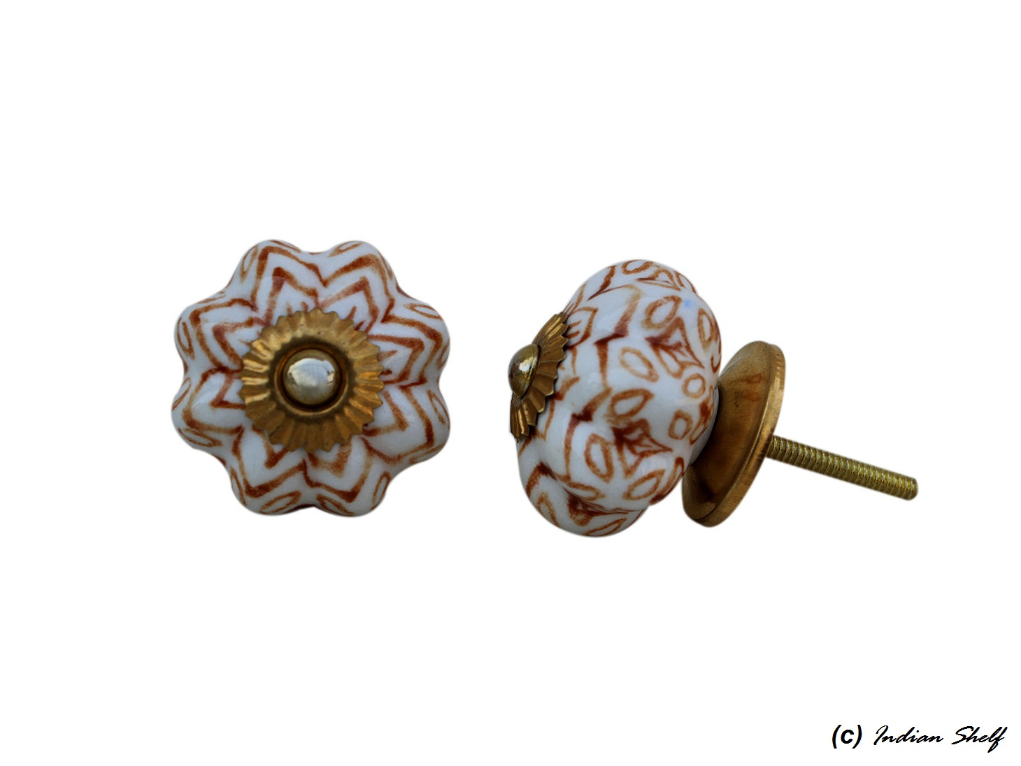 Brown Floral Melon Ceramic Knob