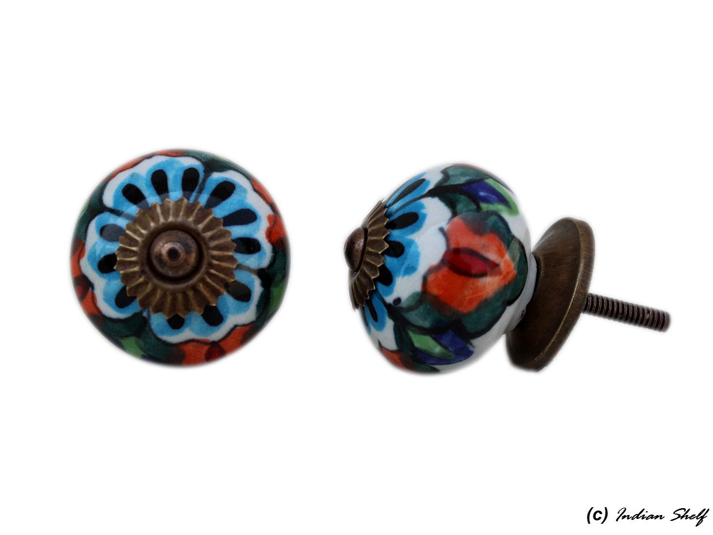 Colorful Floral Ceramic Knob