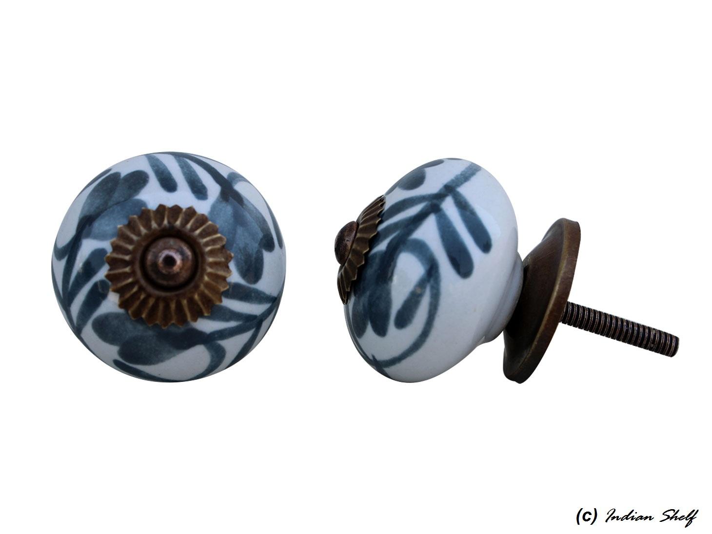 Dark Grey Floral Ceramic Knob