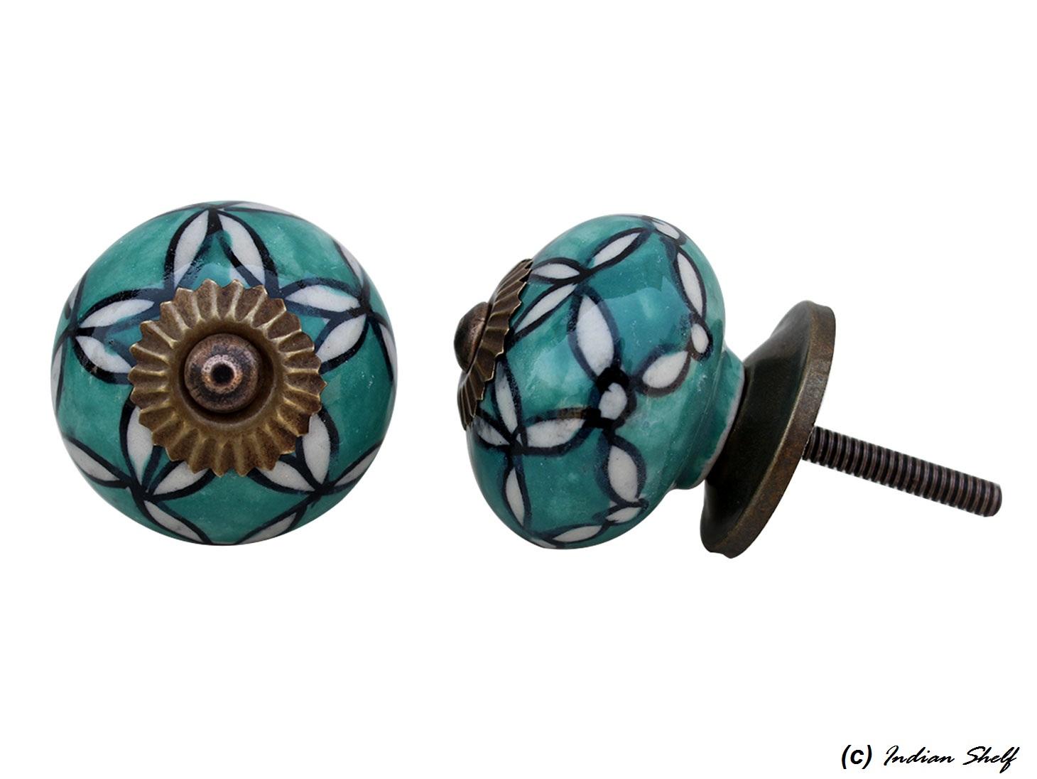 Green Floral Drawer Knob