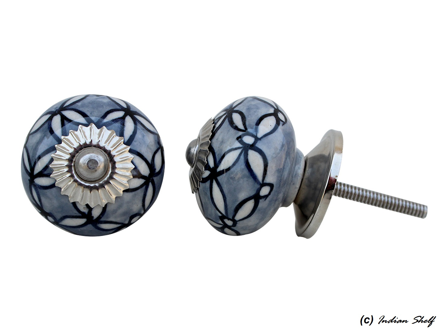 Grey Leaf Drawer Knob