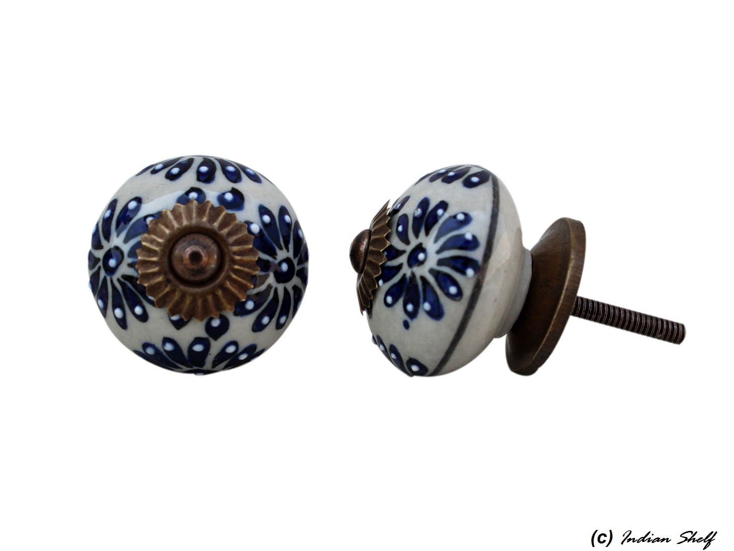 Navy Blue Flower Drawer Knob