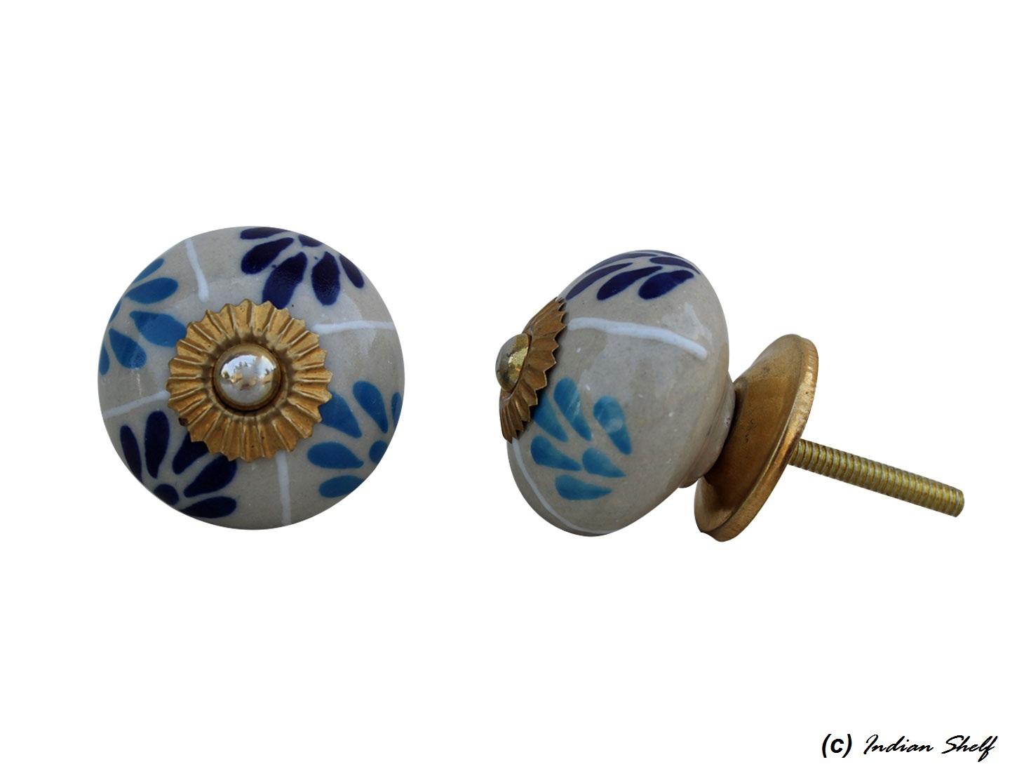Navy Blue Turquoise Drawer Knob