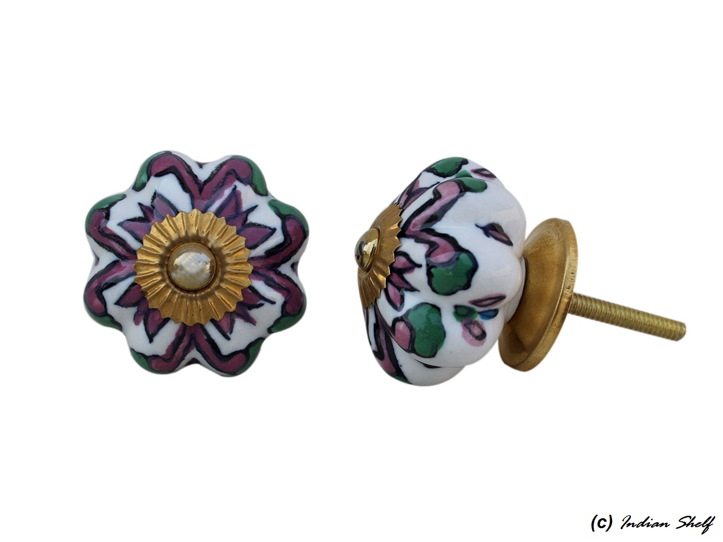 Purple Green Floral Drawer Knob