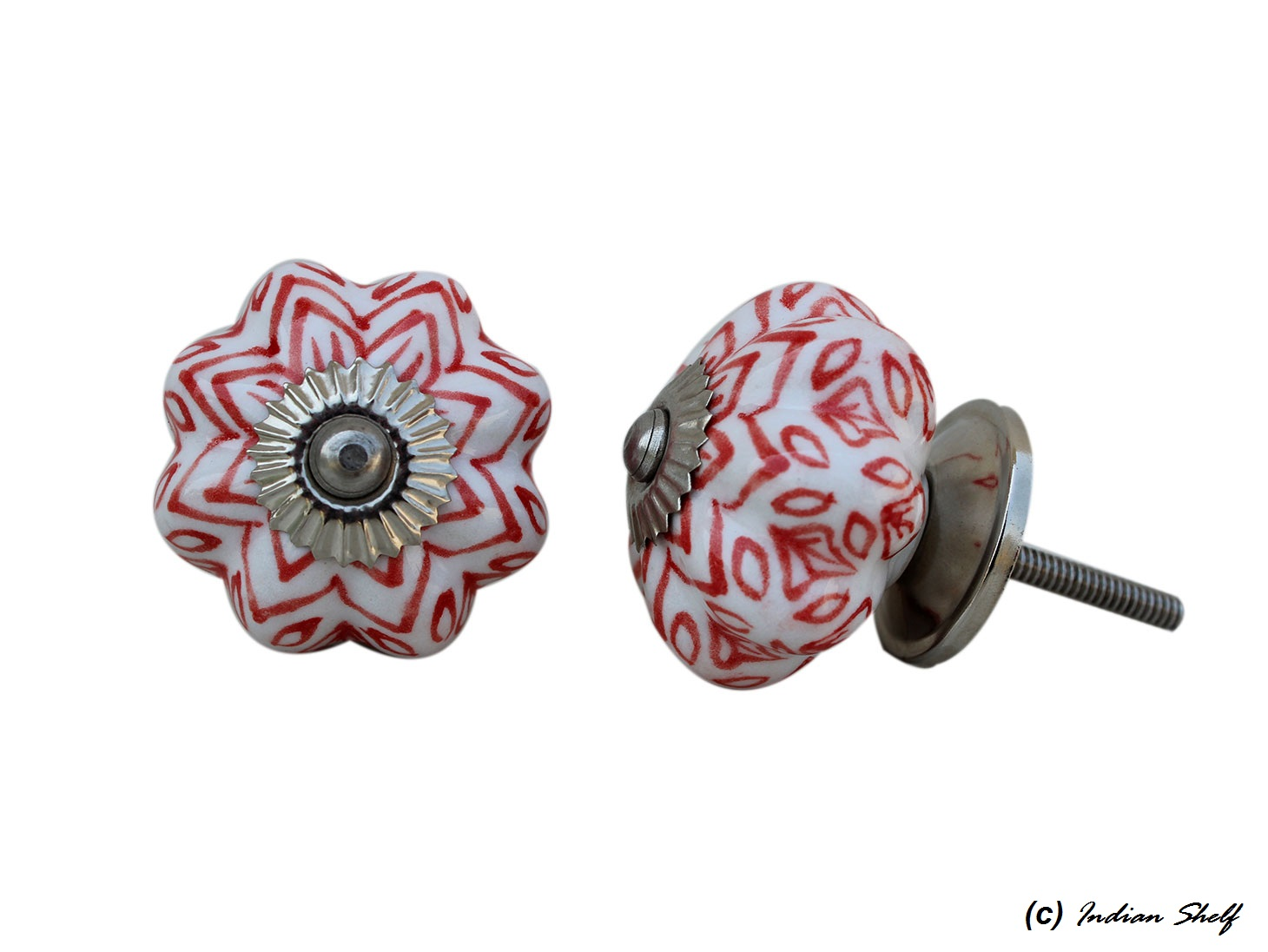 Red Flower Drawer Knob