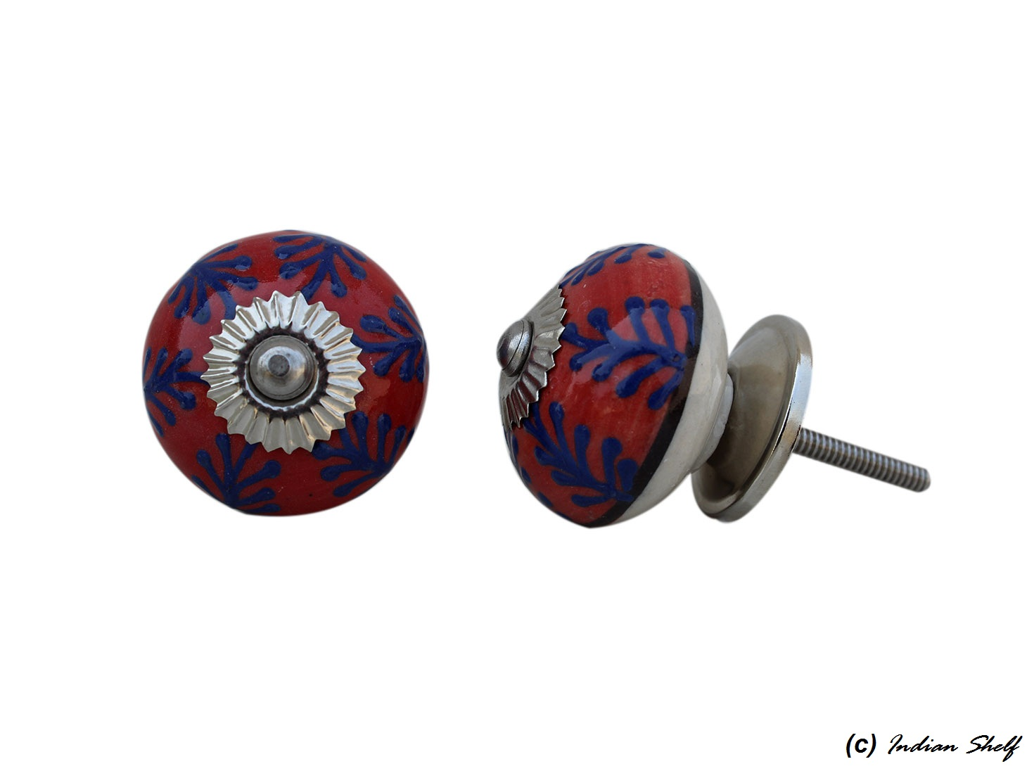Red Navy Blue Leaf Drawer Knob