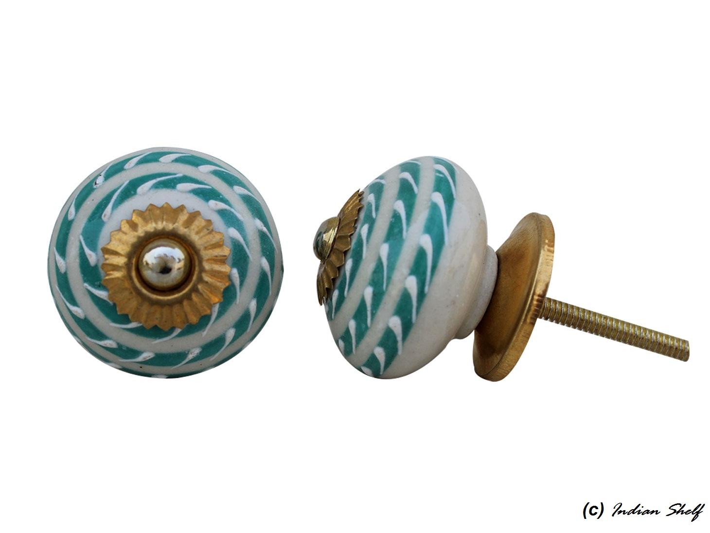 Sea Green Striped Drawer Knob