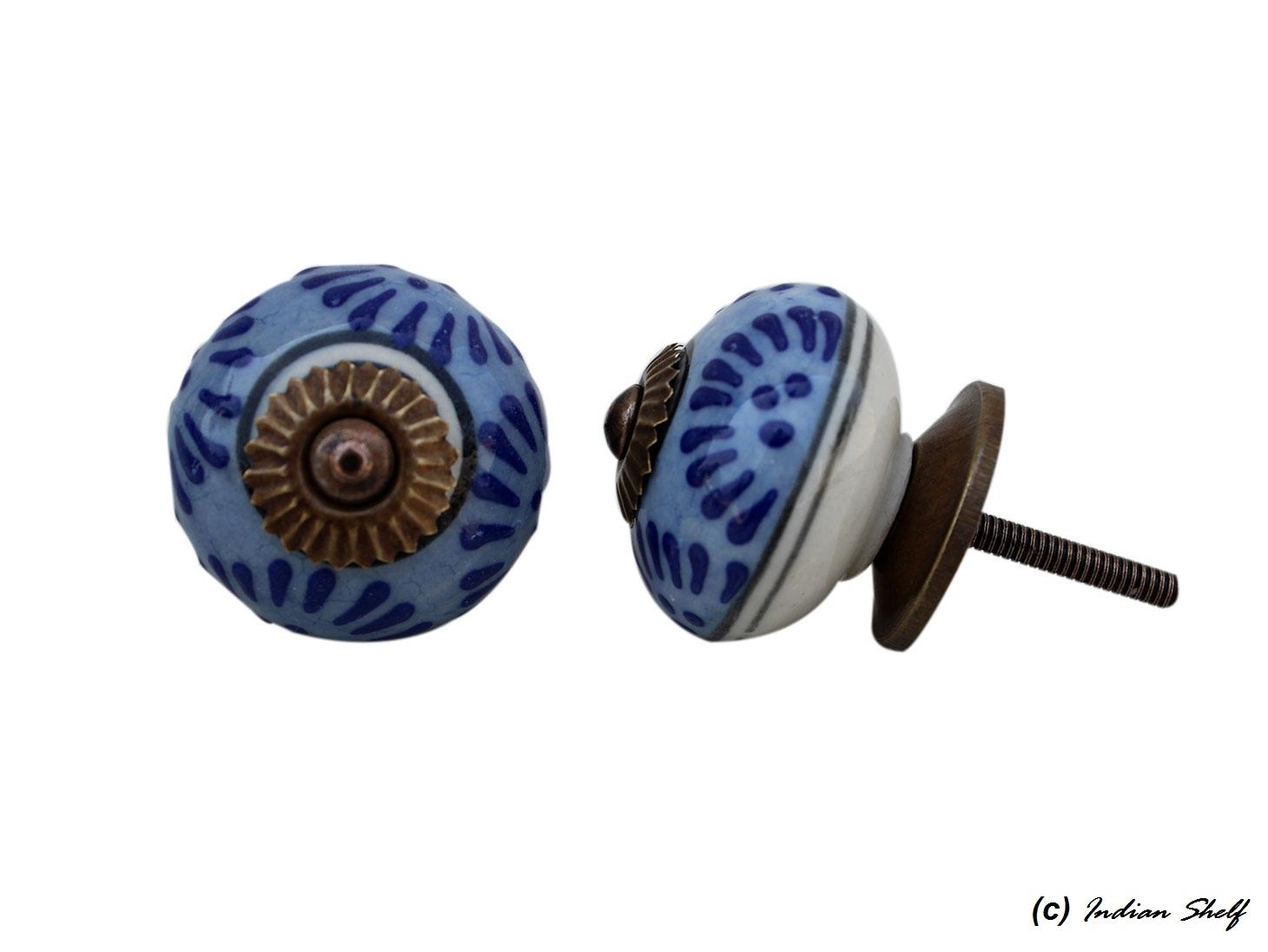 Slate Blue Floral Drawer Knob