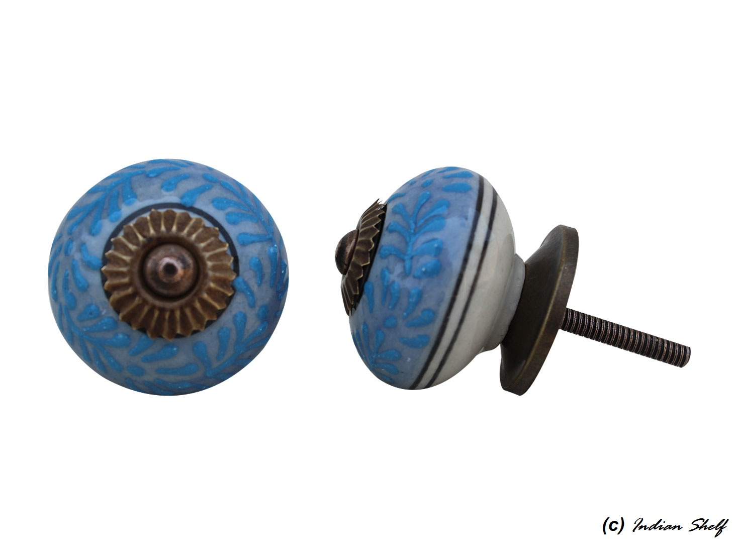 Slate Blue Turquoise Leaf Drawer Knob