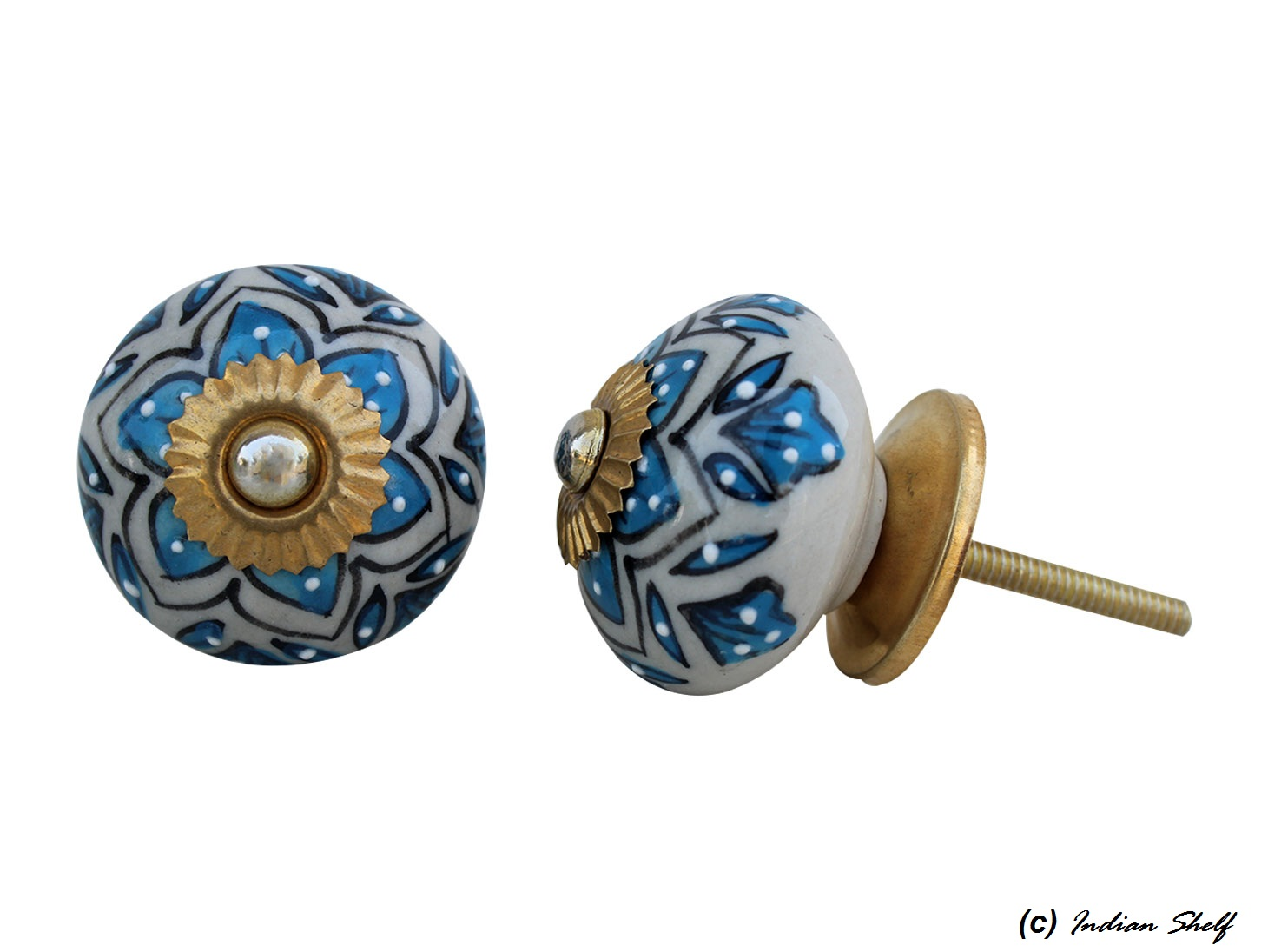 Turquoise Floral Drawer Knob