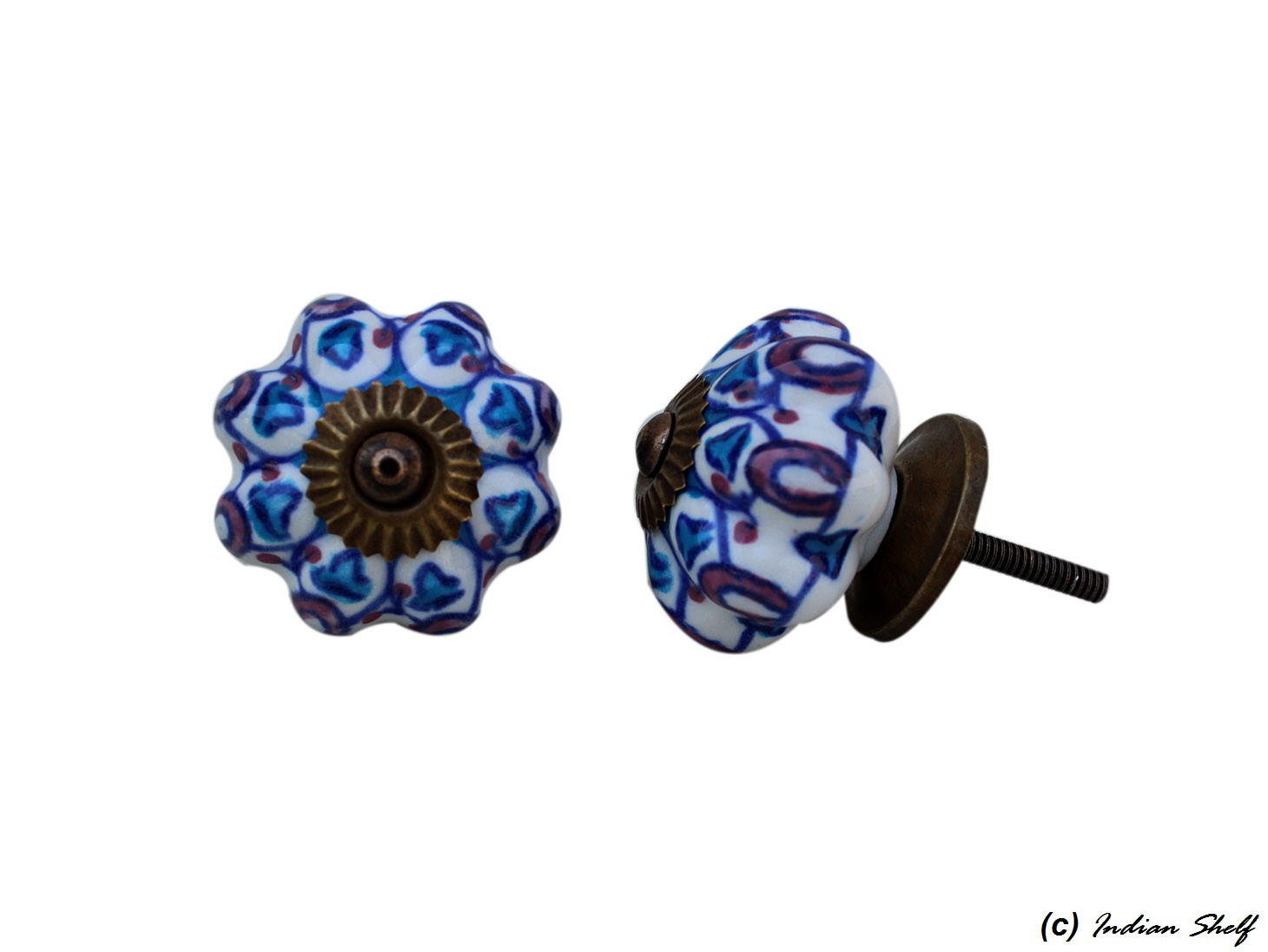 Turquoise Purple Floral Drawer Knob