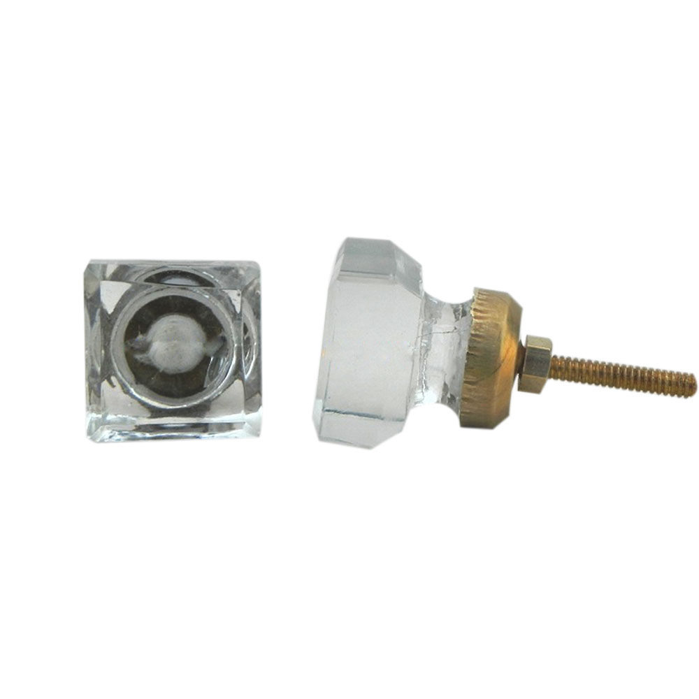 Clear Square Small Glass Drawer Knobs