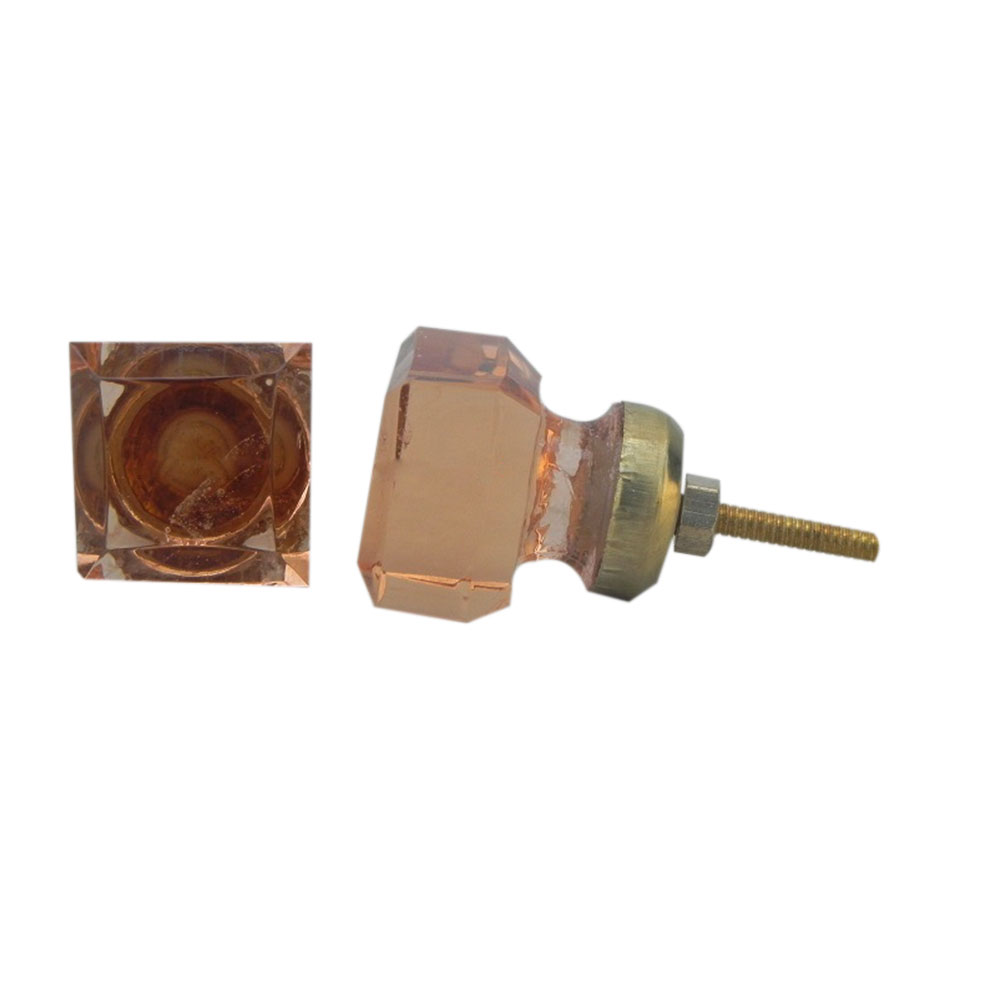 Pink Square Small Glass Knobs
