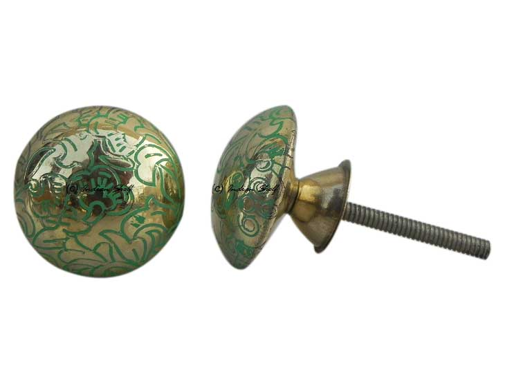 Brass Green Floral Cabinet Knobs