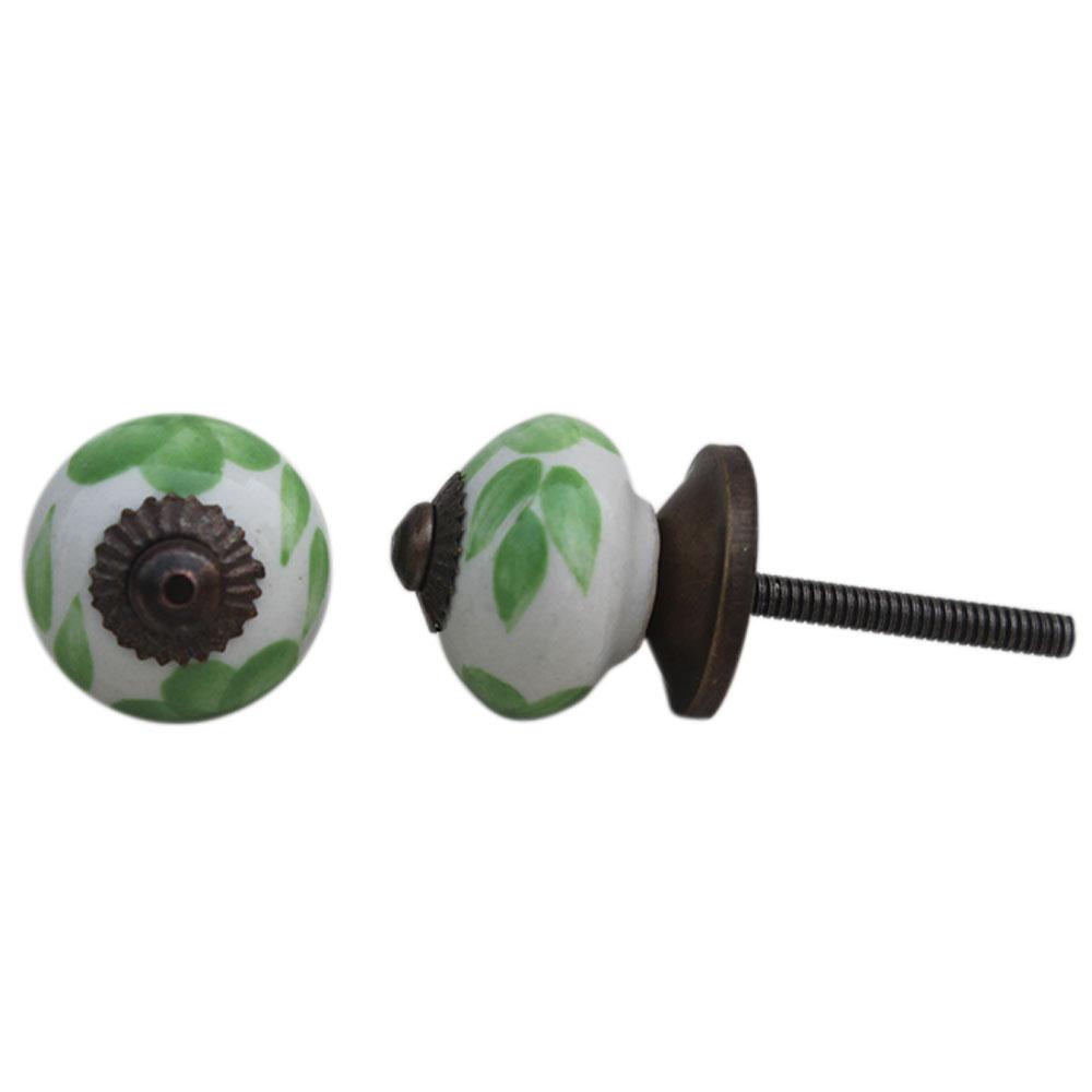 Green Floral Small Knob