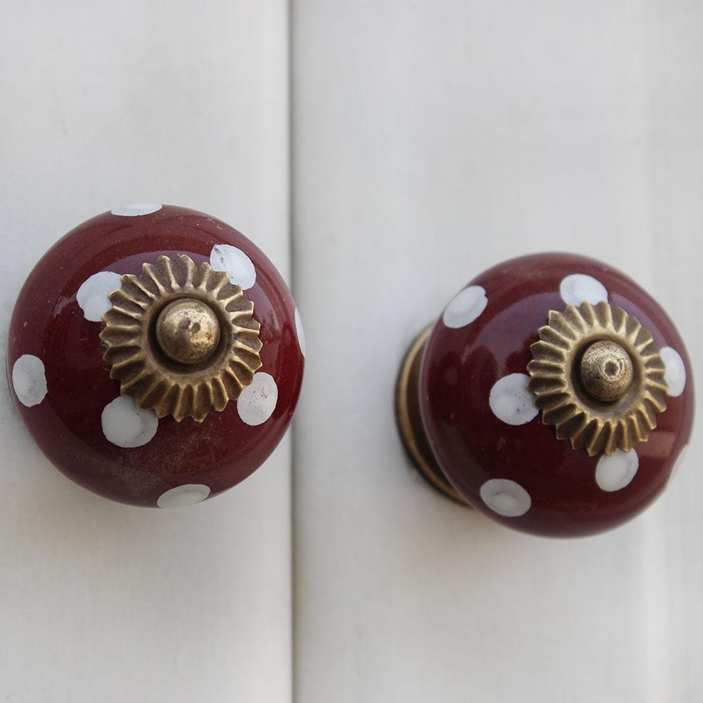 Cherry White Dot Ceramic Cabinet Knob