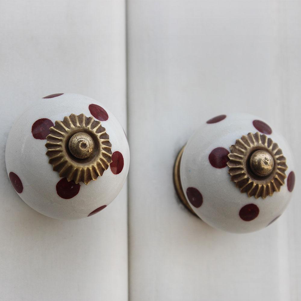 White Cherry Dot Ceramic Dresser Knob